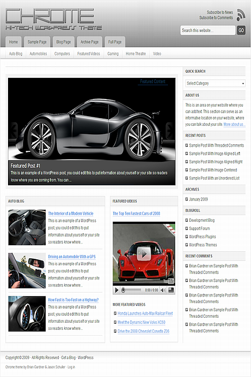 Free Download Chrome WordPress Theme - Clone Site - Free