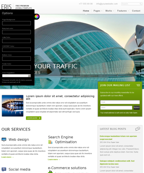 Eris template for joomla