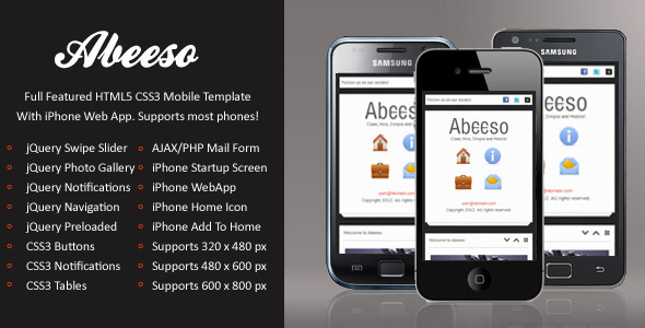 Free Download Abeeso Mobile | HTML5 & CSS3 And iWebApp - Clone Site